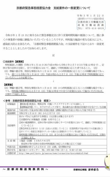 京都府の緊急事態措置協力金の支給要件